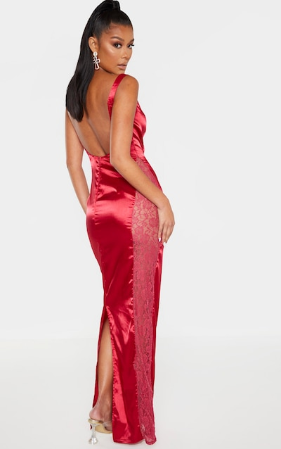 Scarlet Satin Buckle Strap Maxi Dress