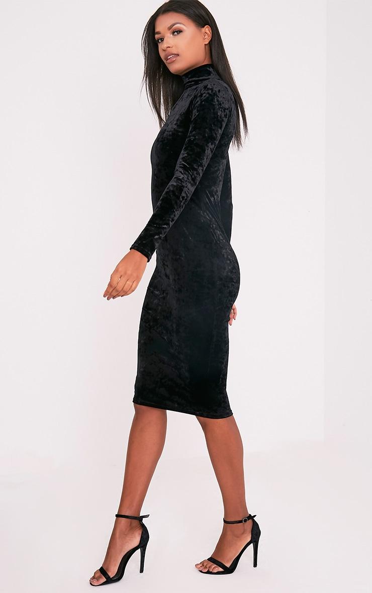 Amlia Black Velvet High Neck Midi Dress 4