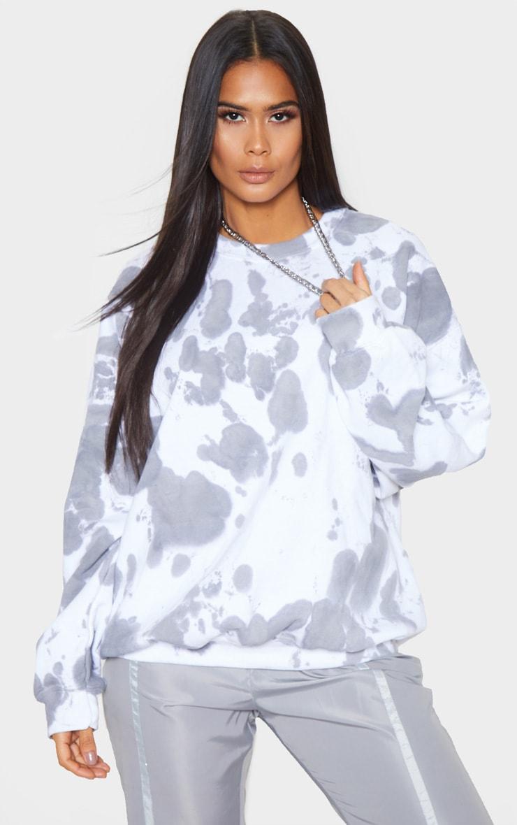 Grey Acid Wash Oversized Sweater 1