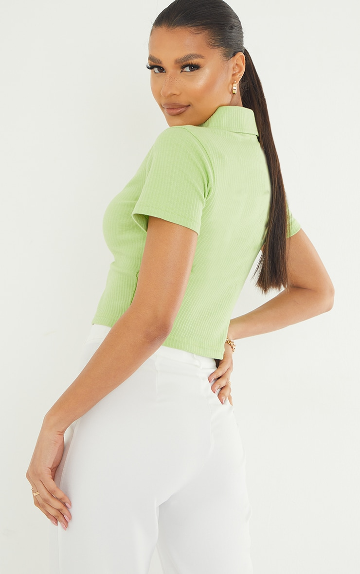 Lime Short Sleeve Jumbo Rib Polo Collar Double Zip Top 2