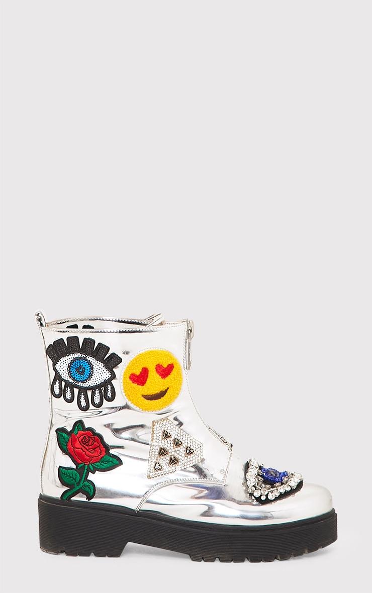 Carinia Silver Metallic Applique Ankle Boots  2