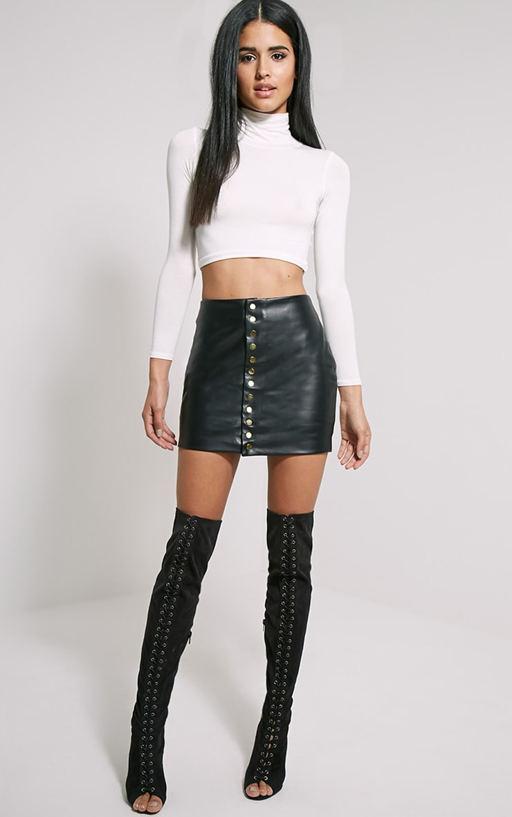 Elara Black Faux Leather Gold Popper Mini Skirt 1