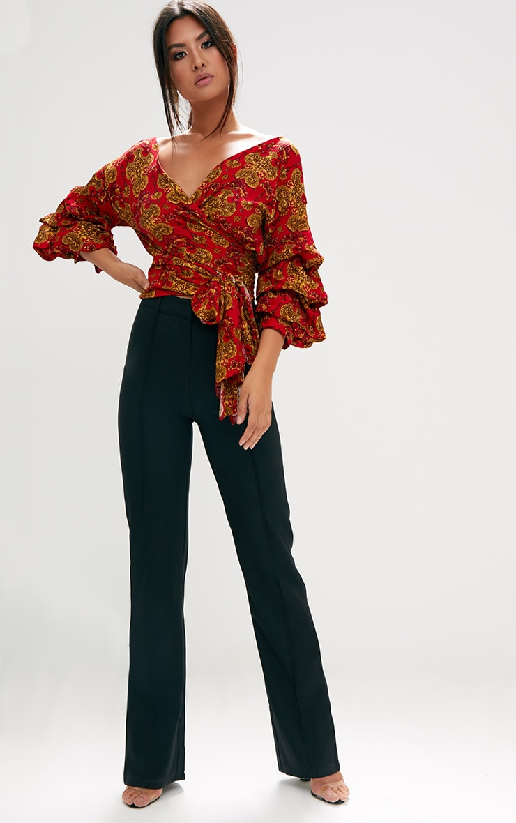 Red Chain Print Ruffle Sleeve Low Shoulder Shirt 4