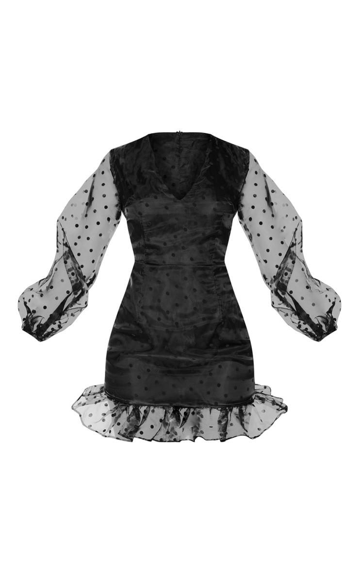 Black Polka Dot Organza Frill Hem Bodycon Dress 5