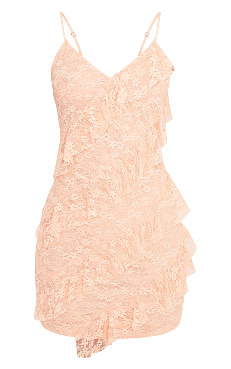 Brittany Blush Strappy Lace Frill Bodycon Dress 3