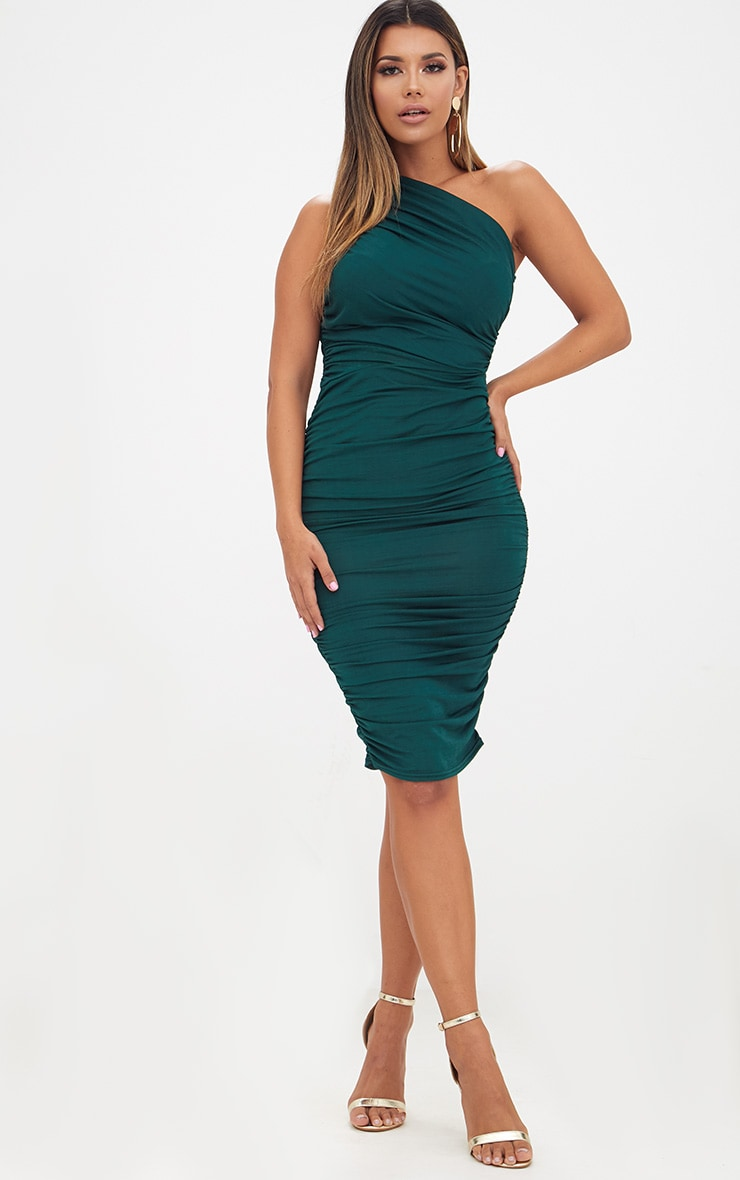 Emerald Green Slinky Ruched One Shoulder Longline Midi Dress 4