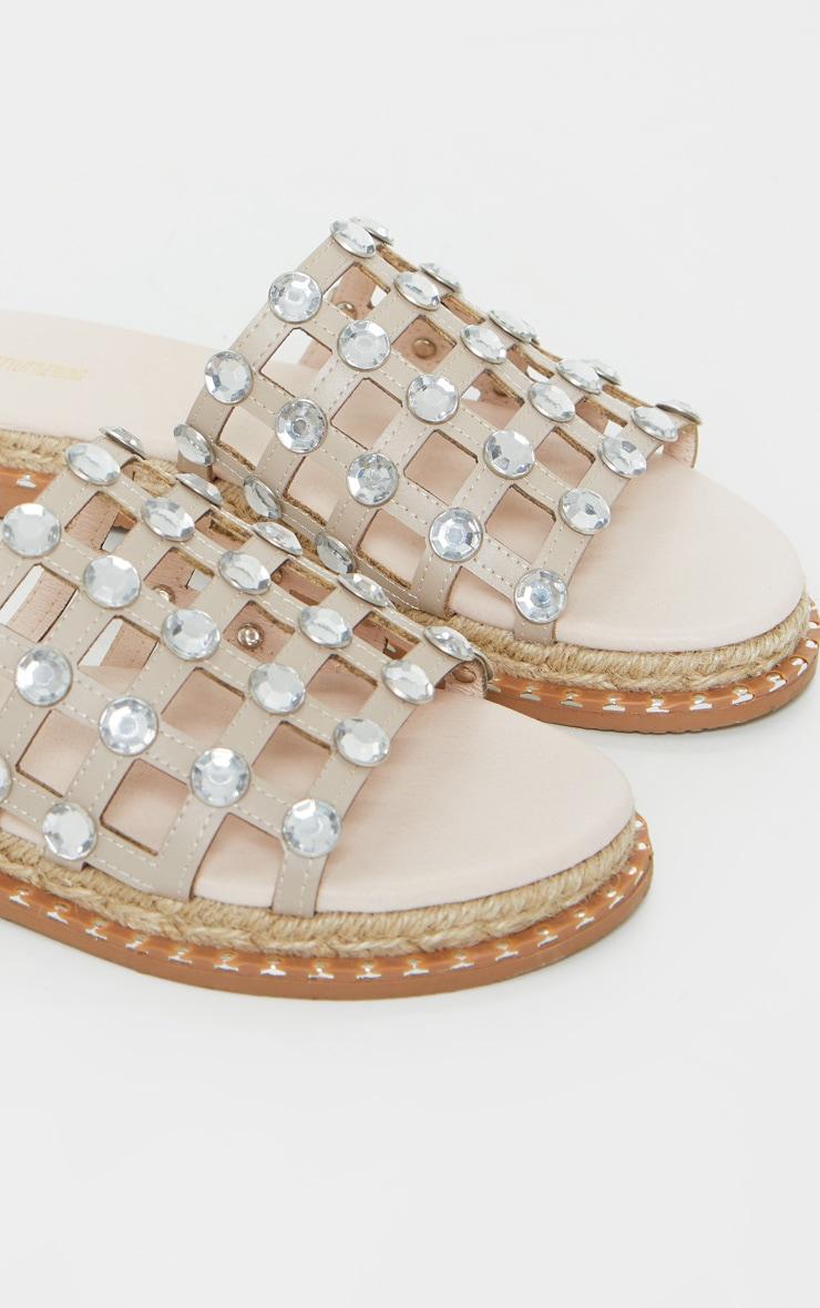Nude Diamante Studded Sliders 4
