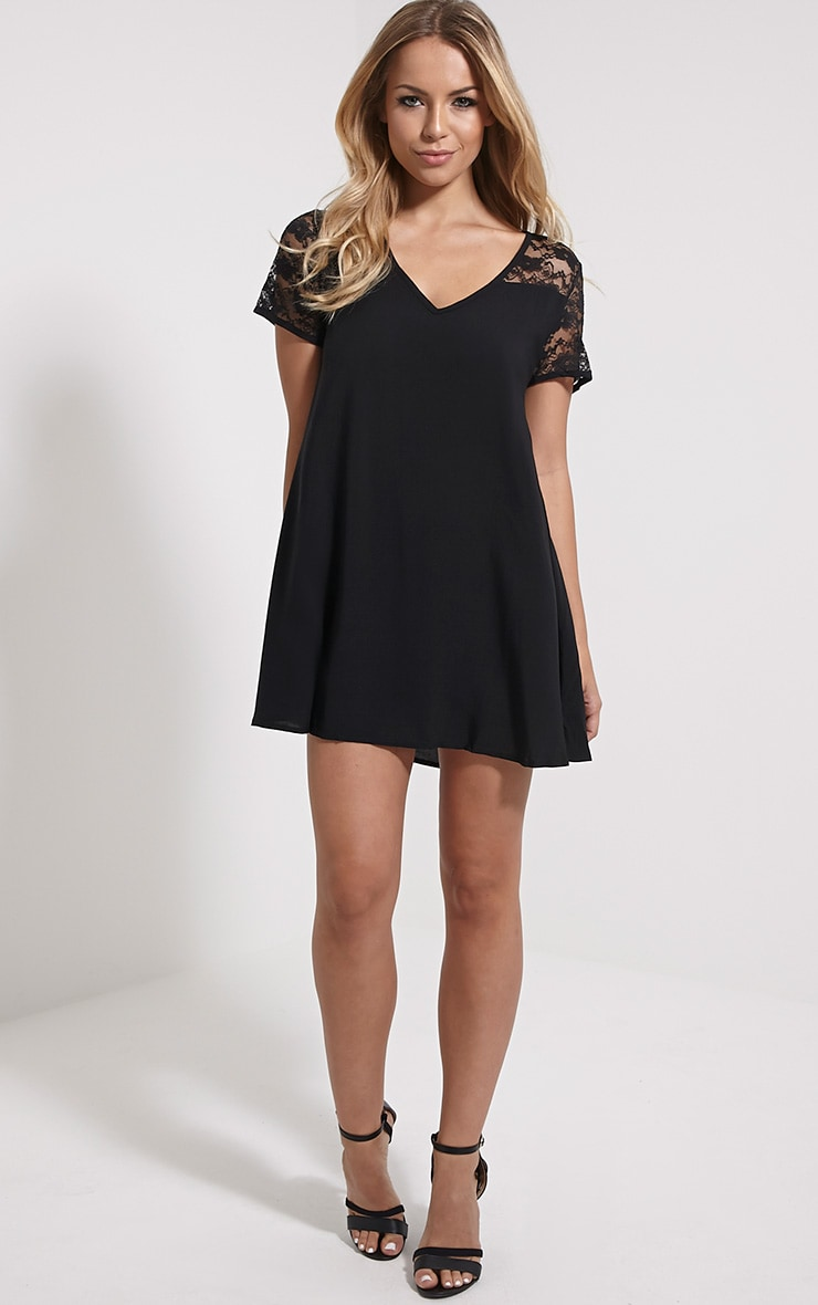 Uri Black Lace Detail Shift Dress 3