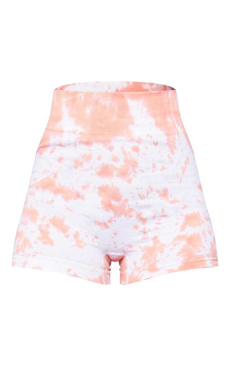 Orange Tie Dye Seamless Sport Booty Shorts 6