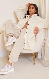 Petite Cream Longline Borg Coat 1