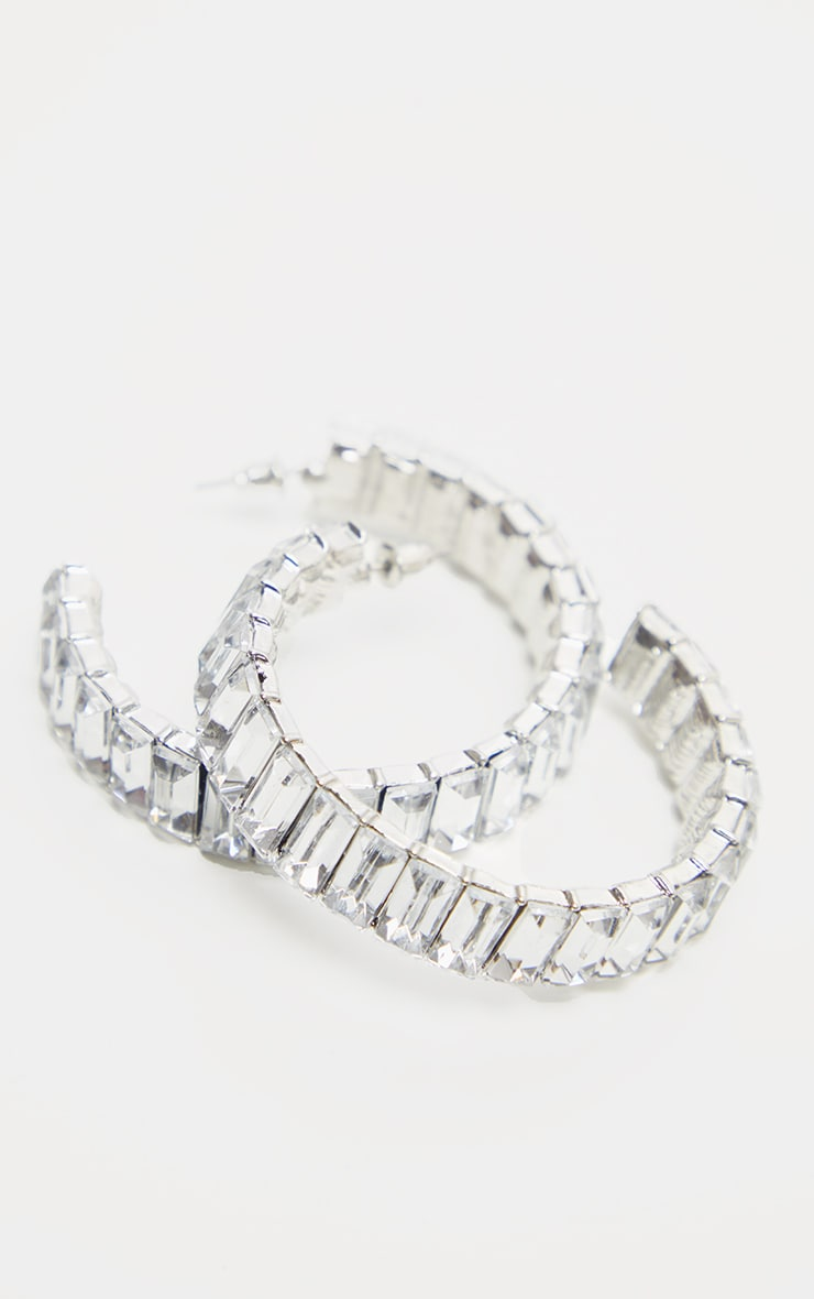 Silver Square Set Diamante Chunky Hoop Earrings 3
