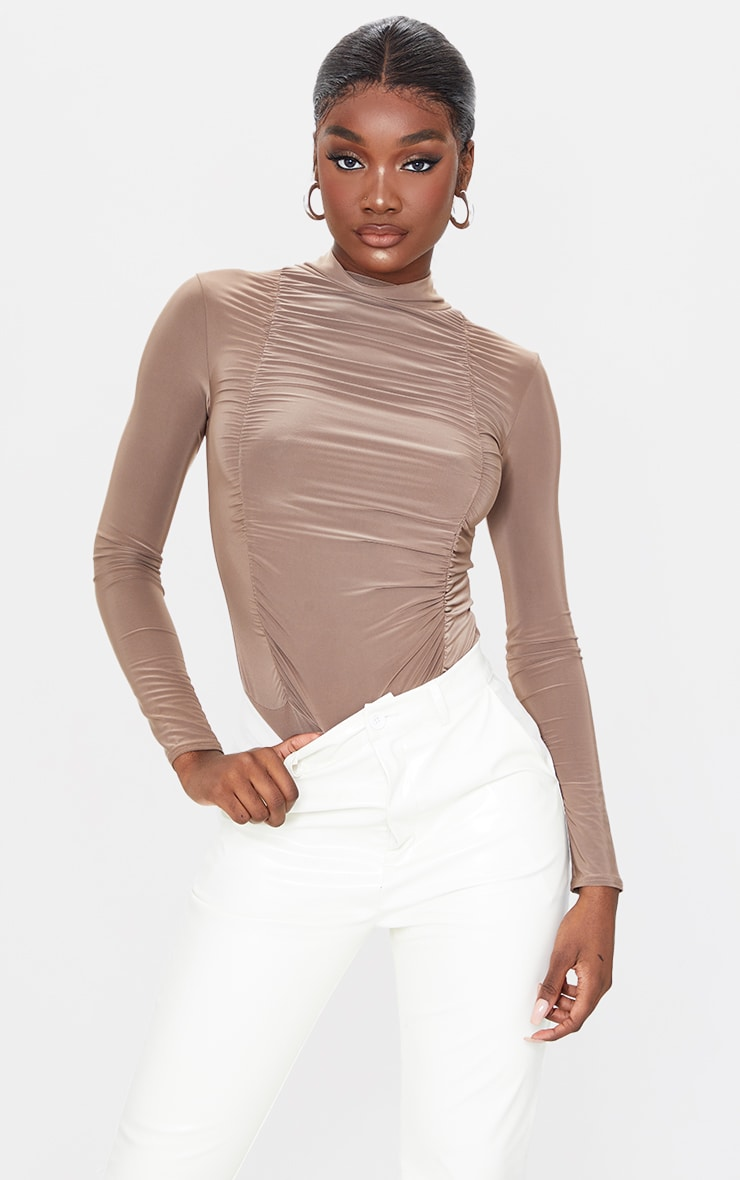 Tall Taupe Jersey Draped High Neck Bodysuit 1