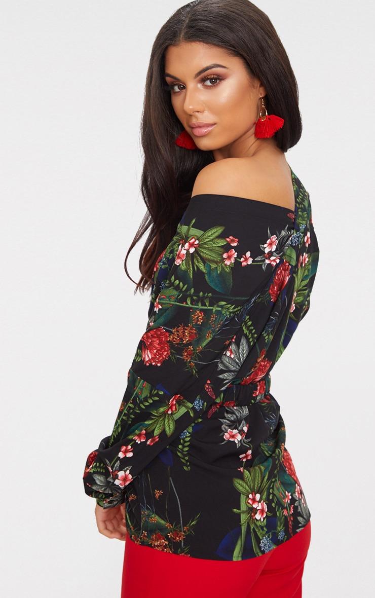 Black Floral Print Off Shoulder Shirt 2