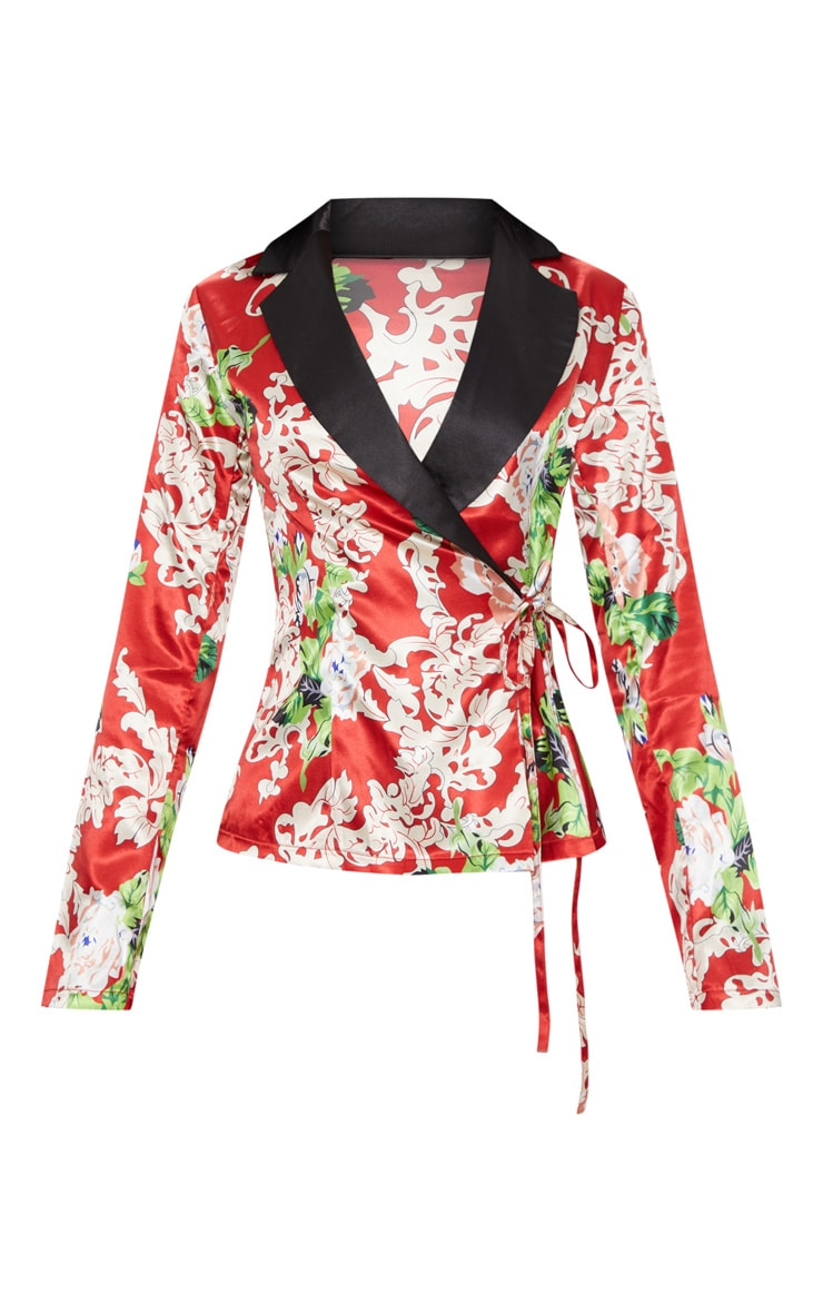 Red Floral Satin Lapel Blouse  3