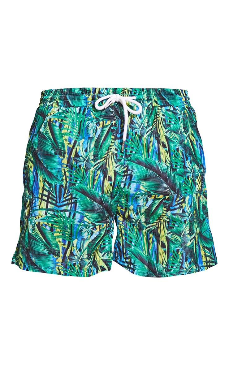 Green Tropical Printed Mid Length Swim Shorts 6