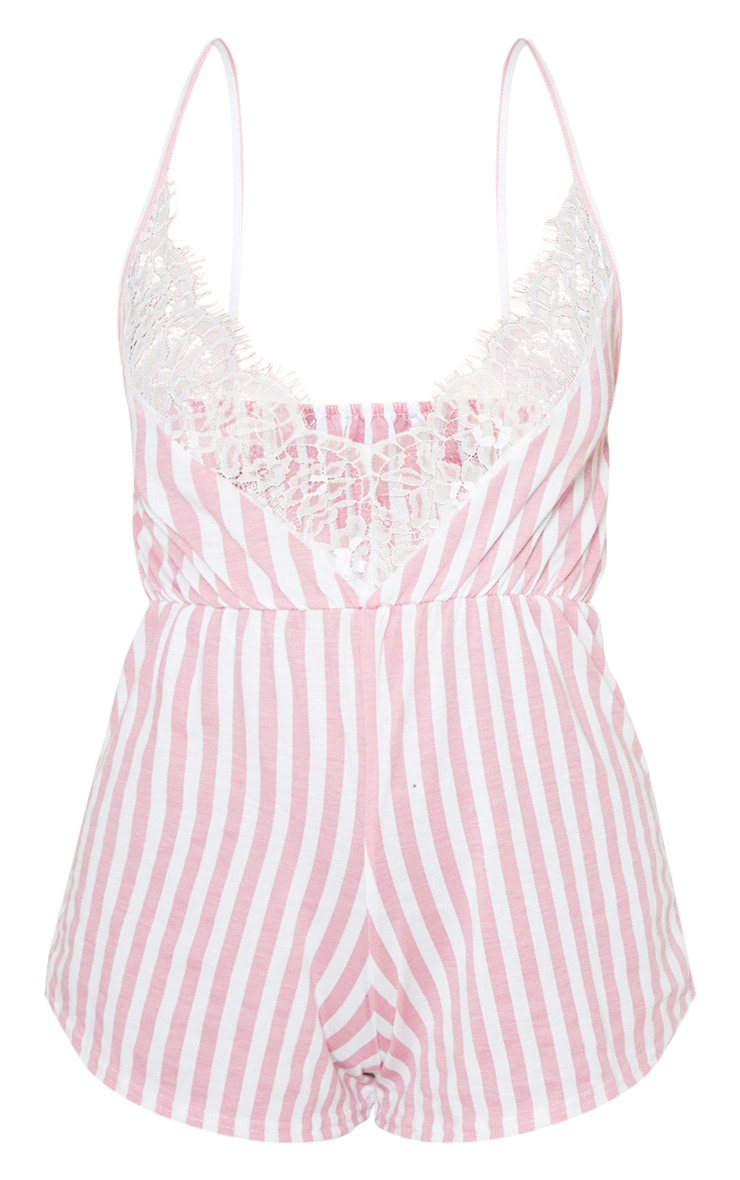 Pink Striped Lace Detail Jersey Teddy 3