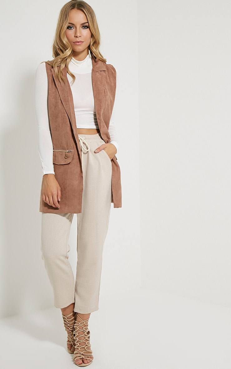Veera Tan Sleeveless Faux Suede Jacket 4