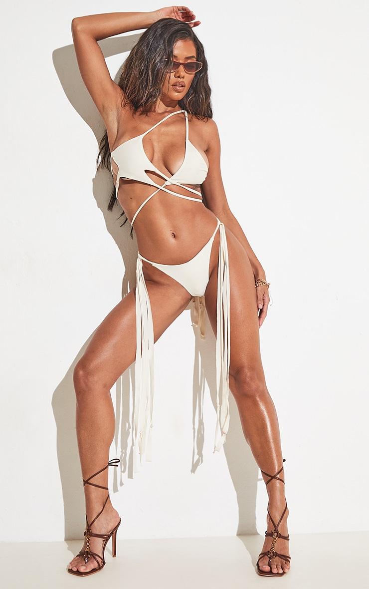 Cream High Leg Tassel Side Bikini Bottoms 6