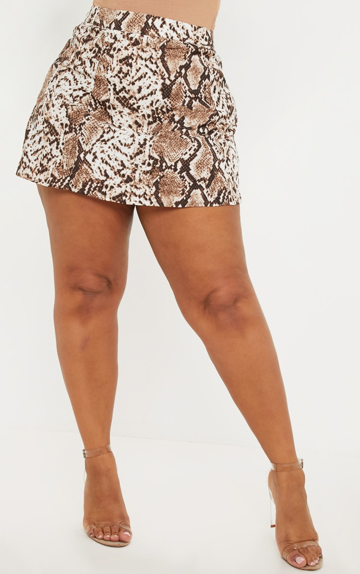 Plus Taupe Snake Print Satin Mini Skirt 2