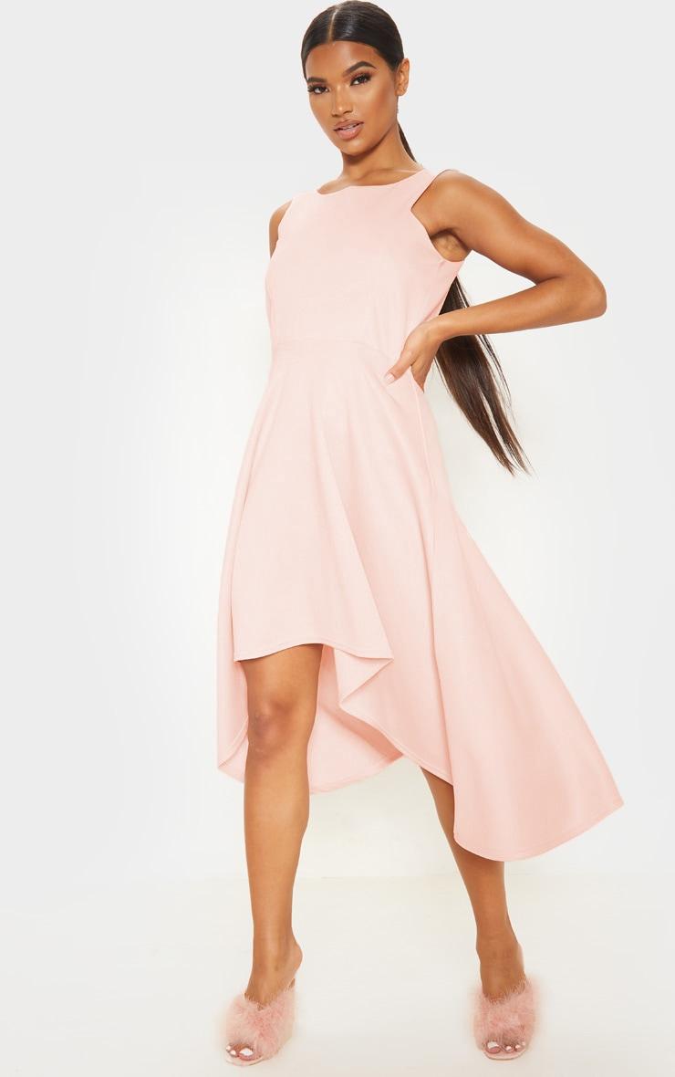 Nude Scuba Sleeveless Drop Hem Midi Dress 1