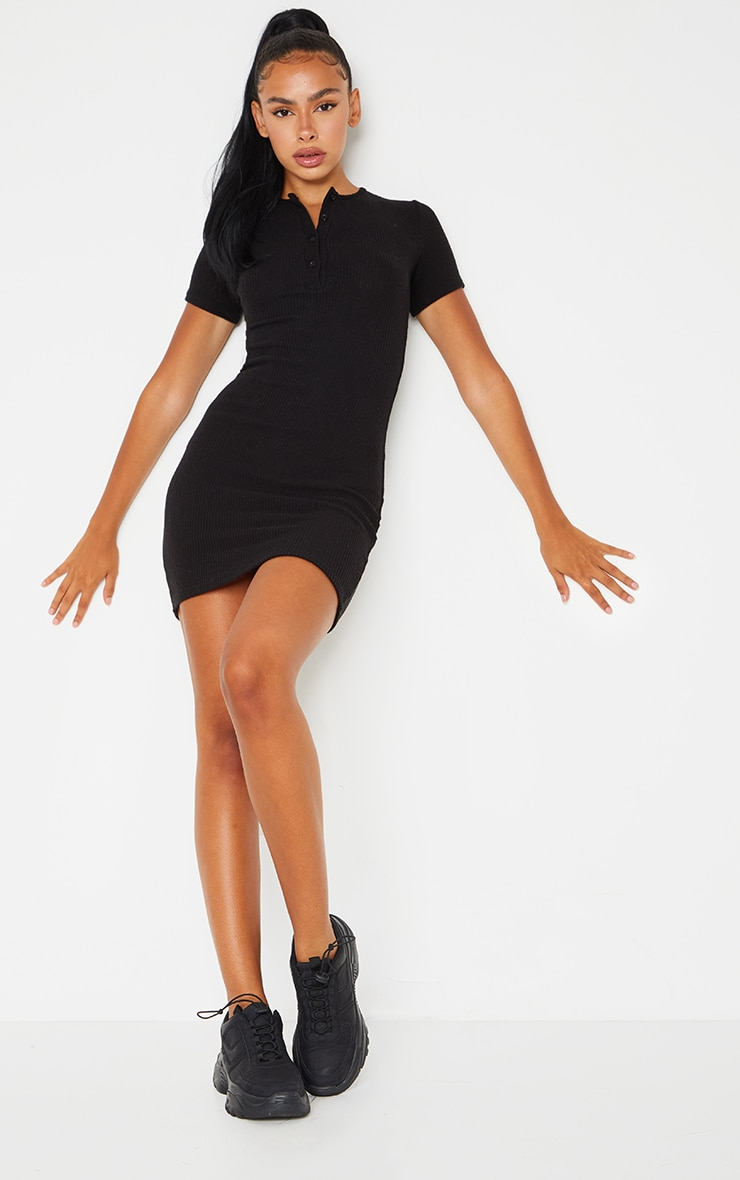 Black Brushed Rib Short Sleeve Button Front Bodycon Dress 1