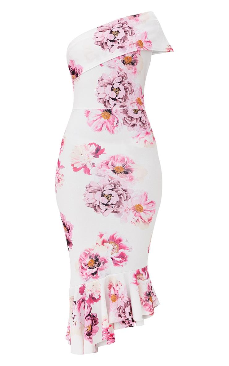 White Floral Asymmetric Bardot Frill Detail Midi Dress 3