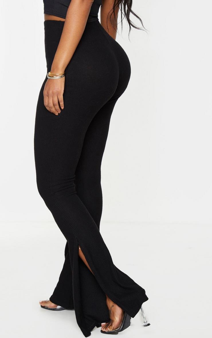 Shape - Pantalon fendu noir en maille côtelée brossée 3
