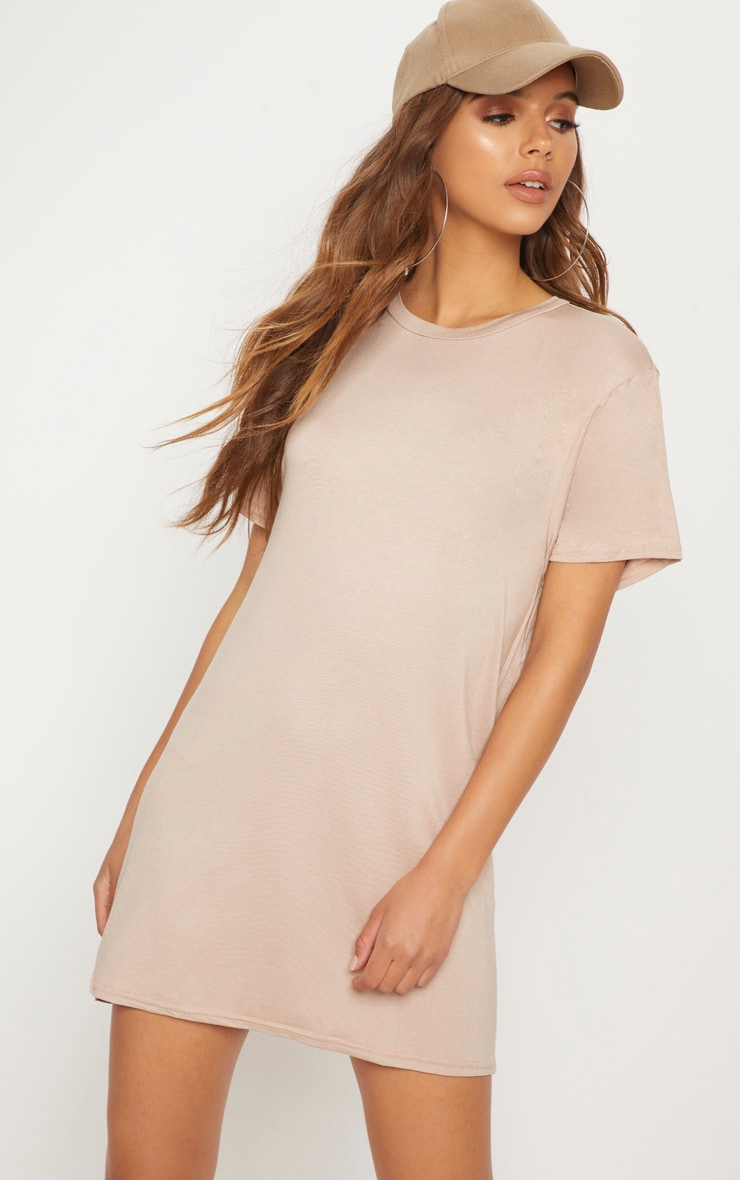 Basic Nude Short Sleeve T Shirt Dress 1