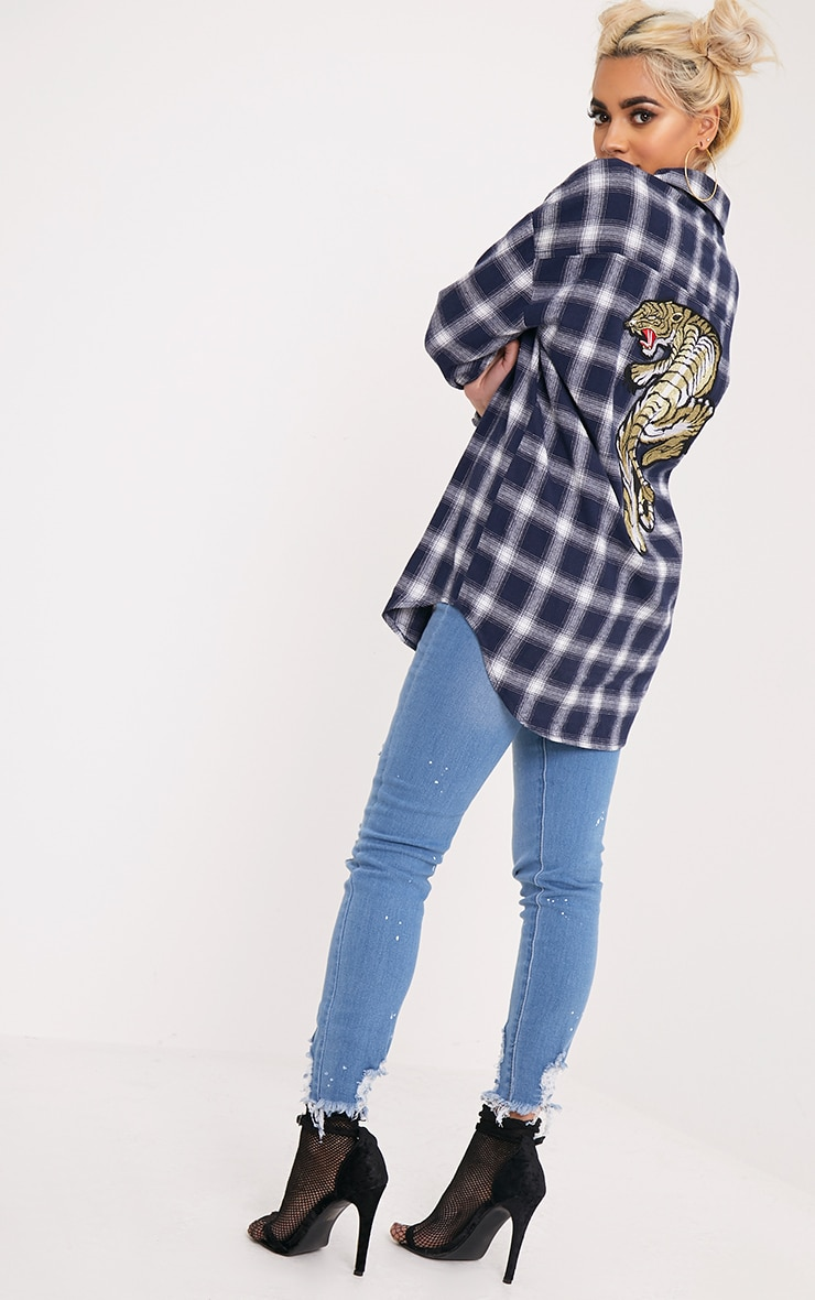 Maeve Navy Checked Applique Shirt 4