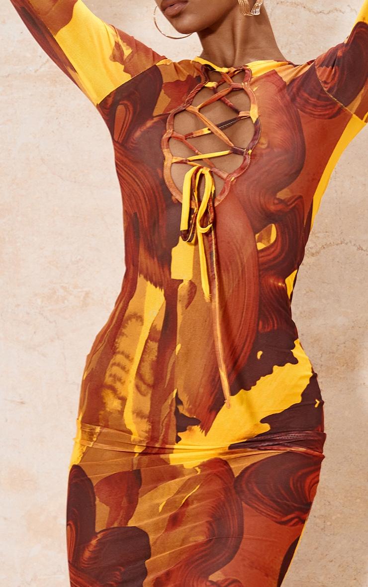 Multi Abstract Print Mesh Lace Up Detail Long Sleeve Midi Dress 4