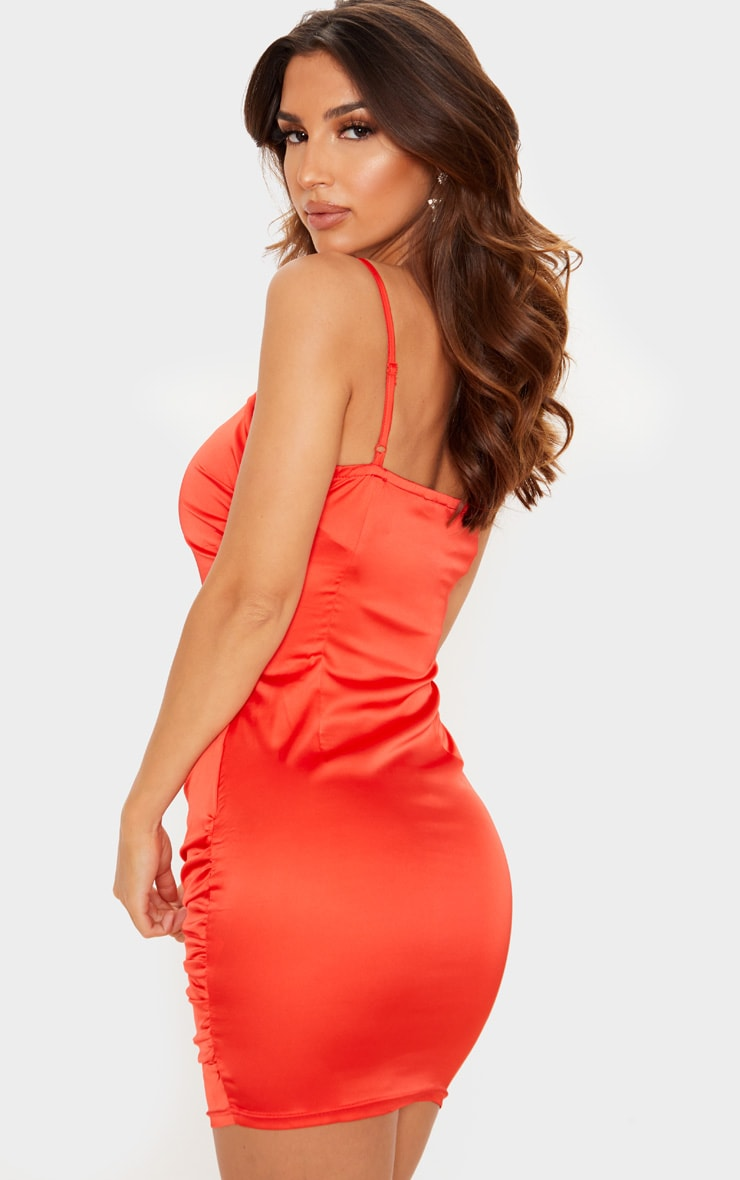 Red Ruched Strappy Satin Bodycon Dress 2