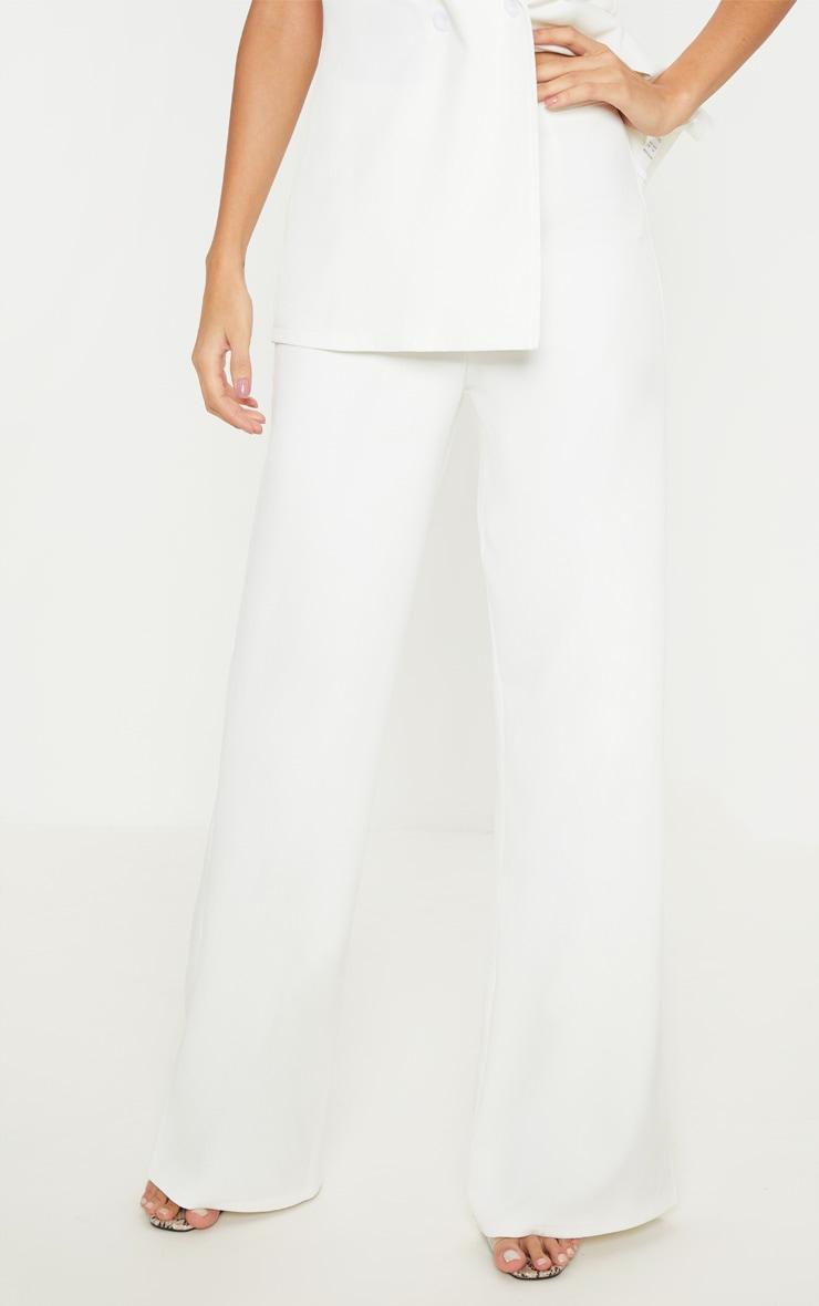 White Wide Leg Suit Trouser  2
