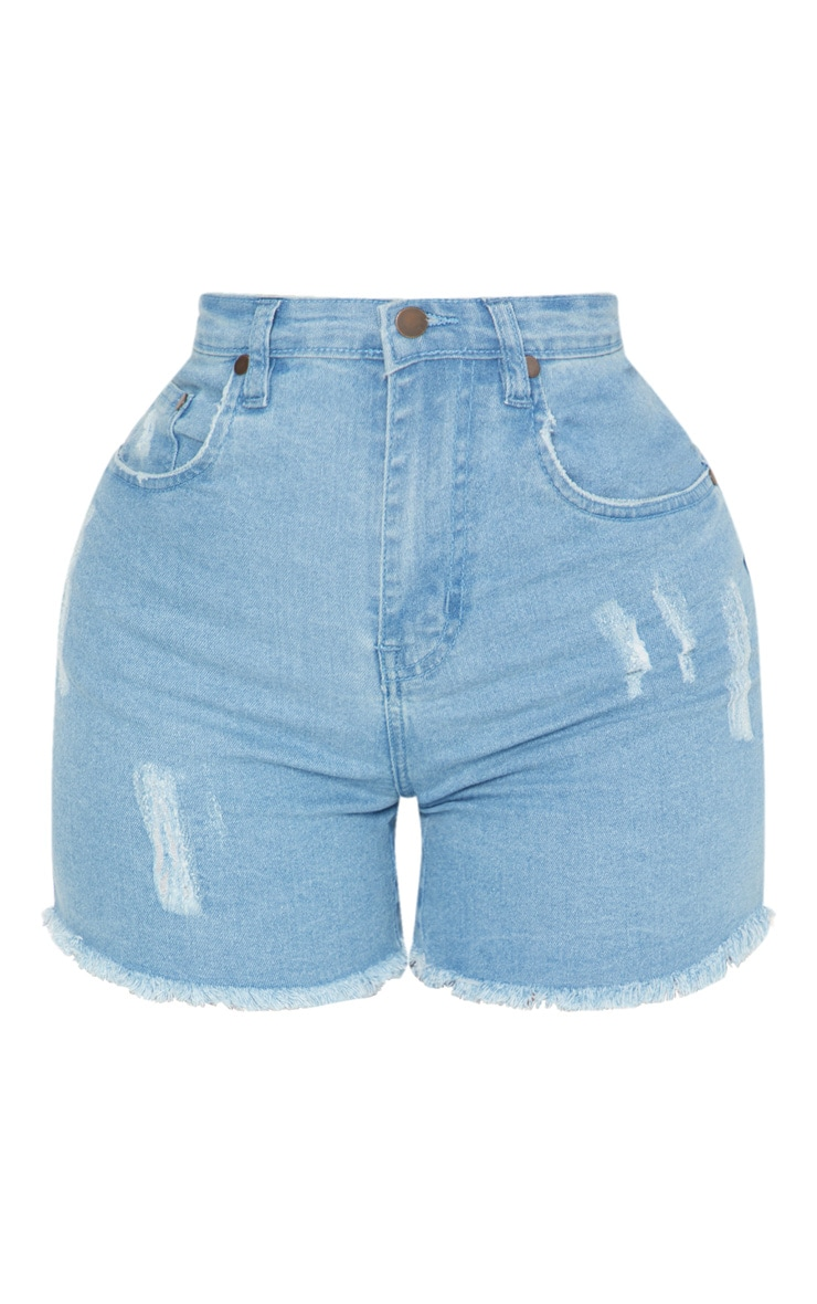 Shape Light Wash High Waisted Denim Shorts 4