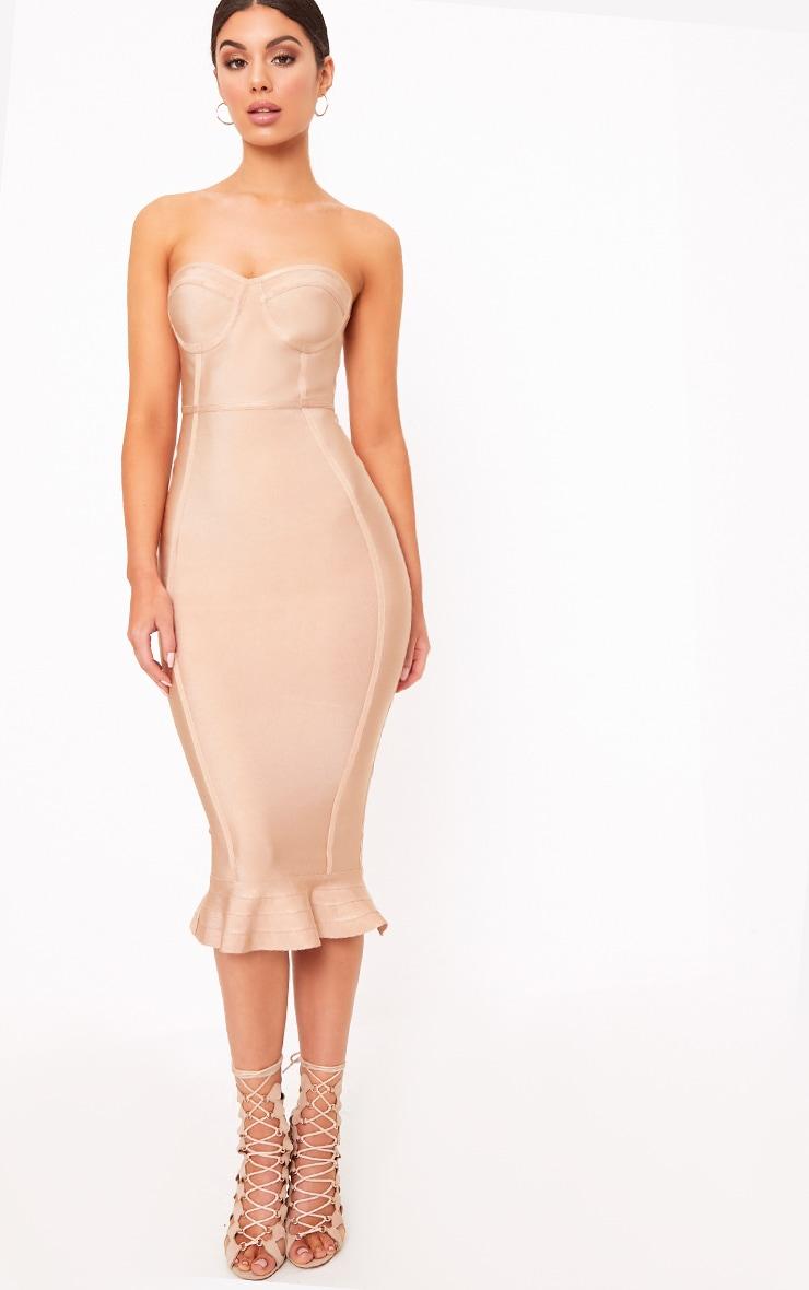 Roxina Camel Bandage Frill Hem Midi Dress 1