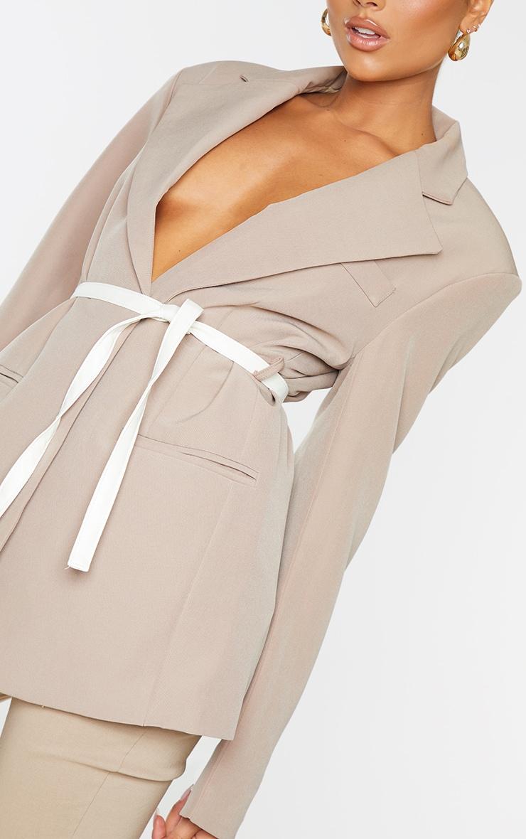 Beige Oversized Contrast Belted Blazer 4