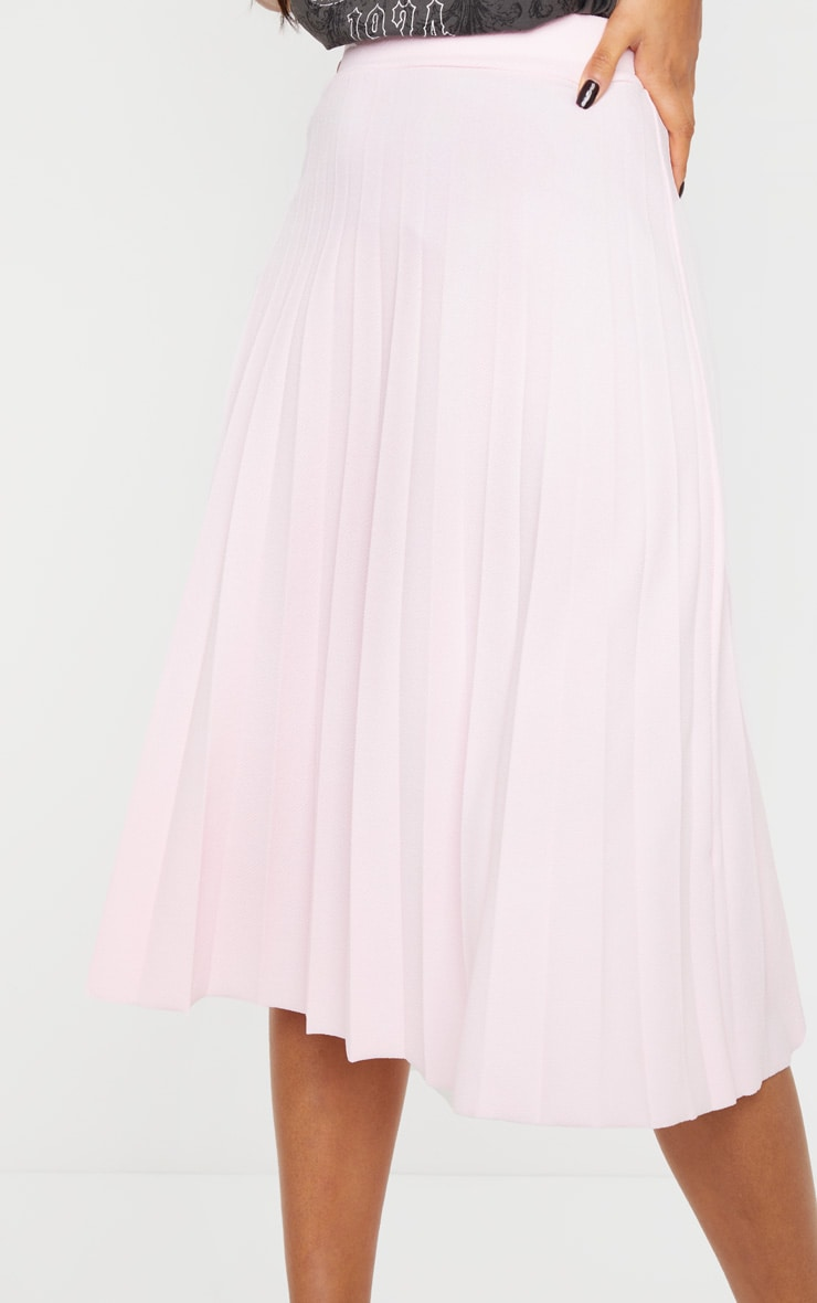 Baby Pink Pleated Floaty Midi Skirt 4