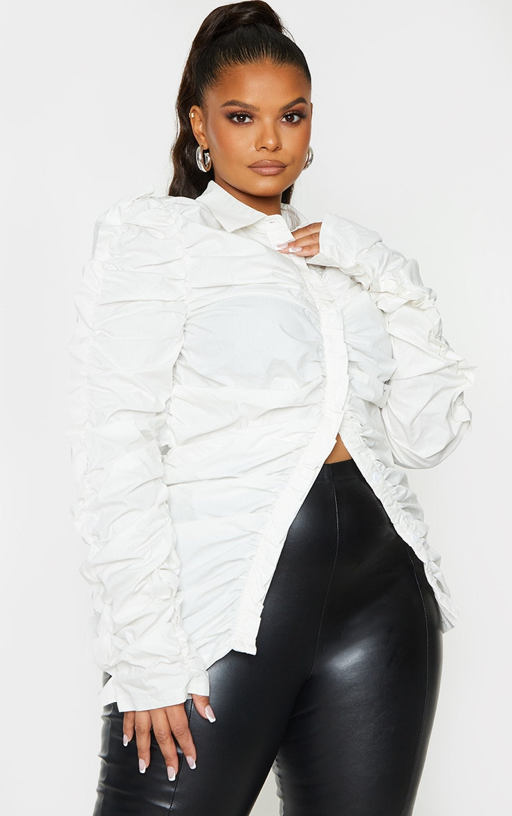 Plus White Ruched Fitted Shirt 2