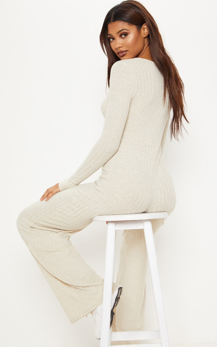 Tall Stone Ribbed Tortoise Button Jumpsuit 2