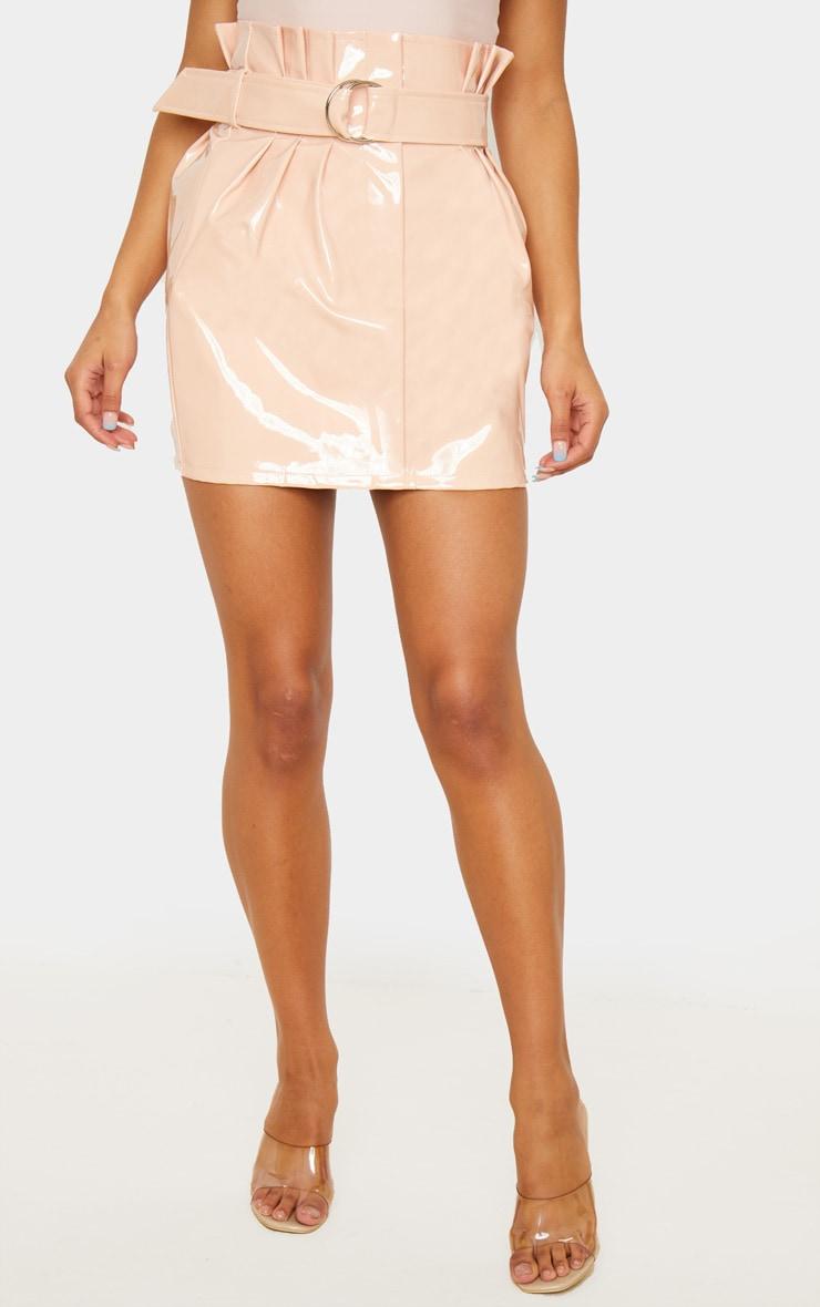 Blush Vinyl Belted Paperbag Mini Skirt 2