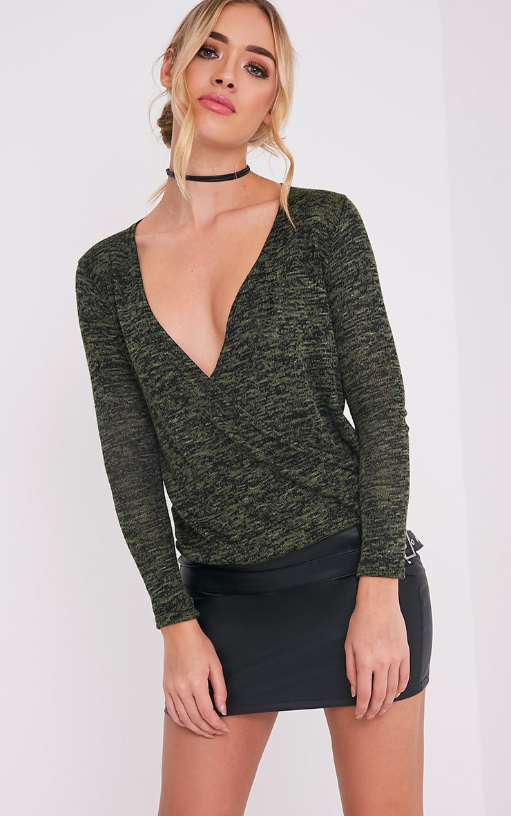 Mati Khaki Long Sleeve Crop Wrap Top 1