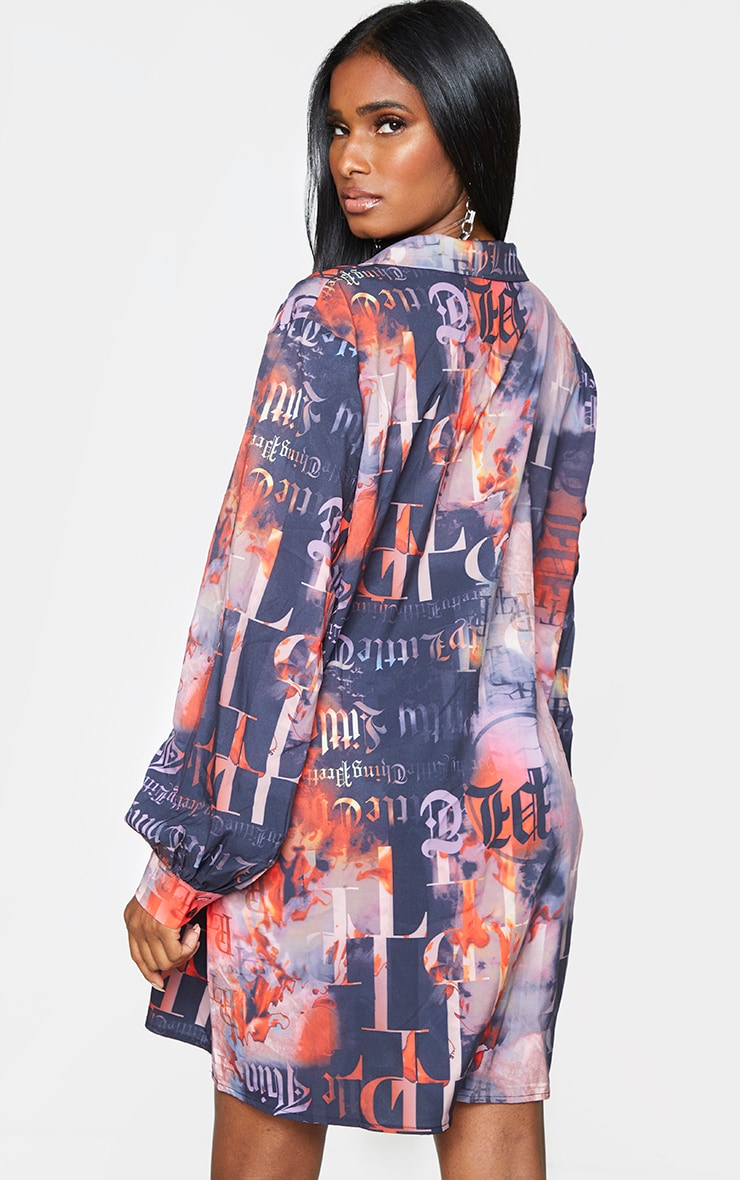 PRETTYLITTLETHING Slogan Print Black Pleated Detail Shirt Dress 2
