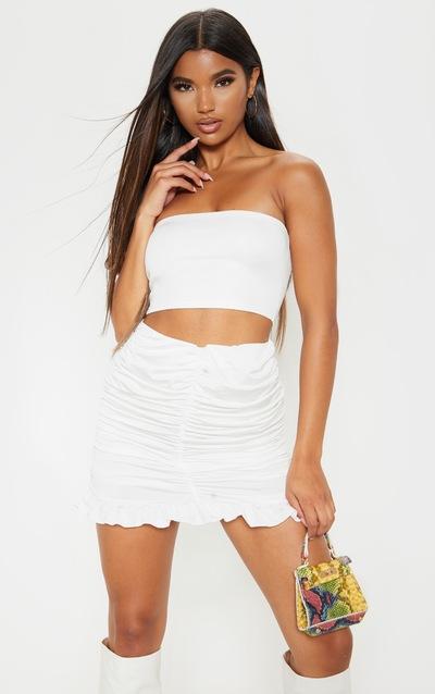 White Slinky Ruched Frill Hem Mini Skirt