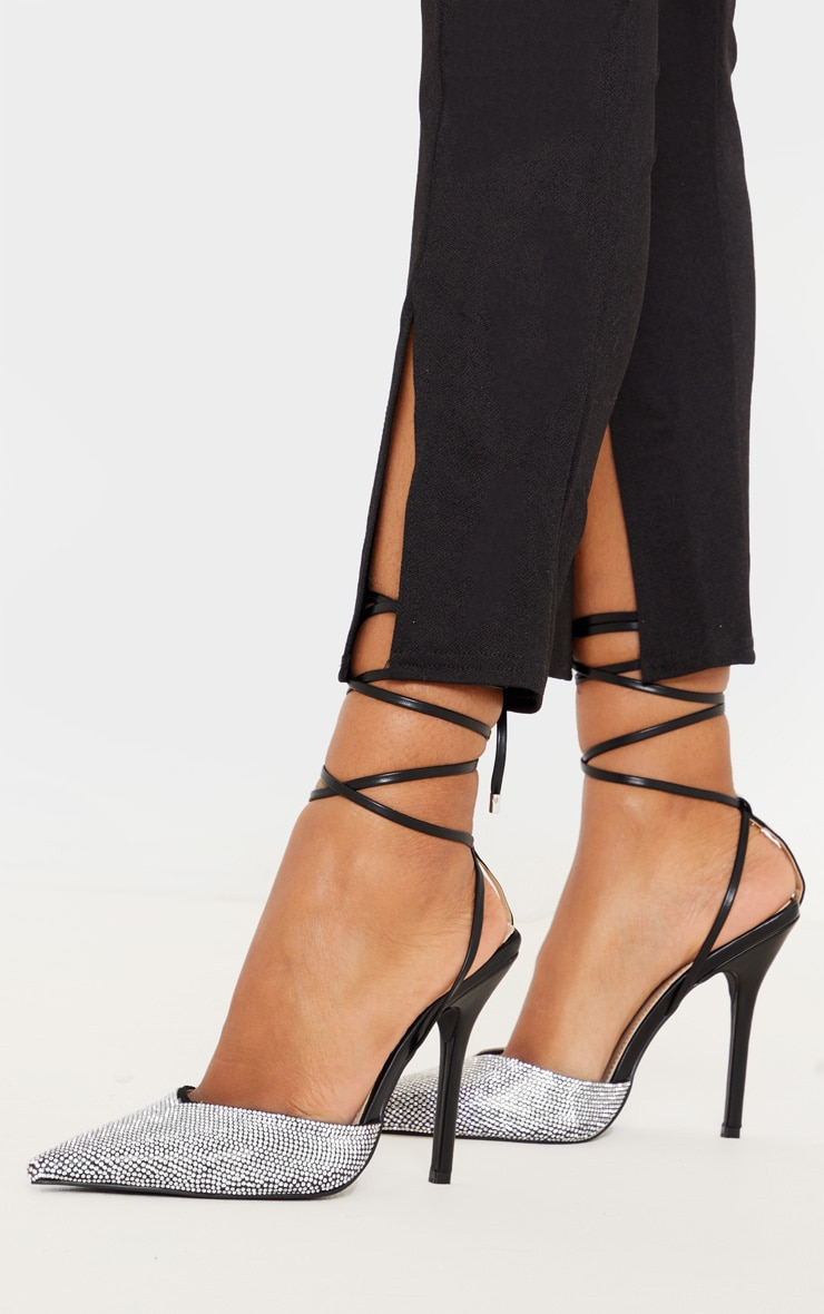 Black Diamante Toe Ankle Tie Court Shoe 2