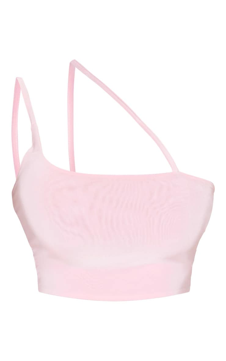 Pink Slinky Asymmetric Strap Crop Top  3