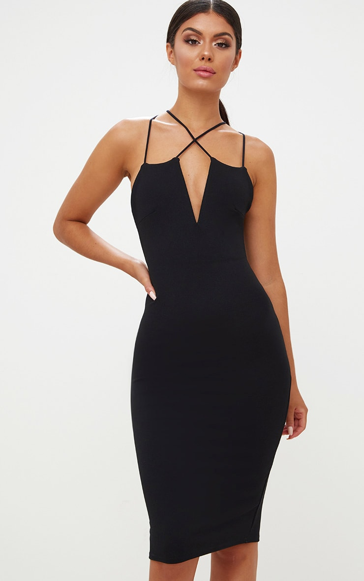 Black Cross Front Strappy Back Plunge Front Midi Dress 4
