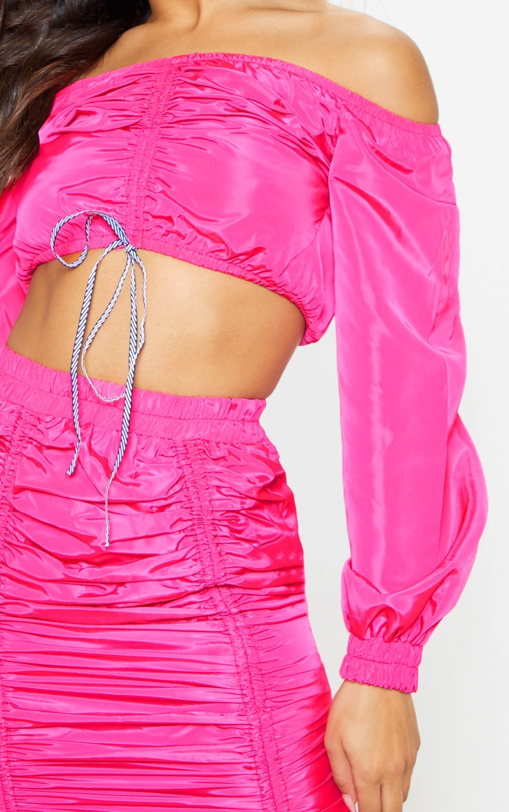 Bright Pink Ruched Front Shell Bardot Crop Top 5