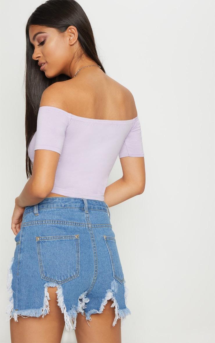 Basic Lilac Bardot Crop Top 2