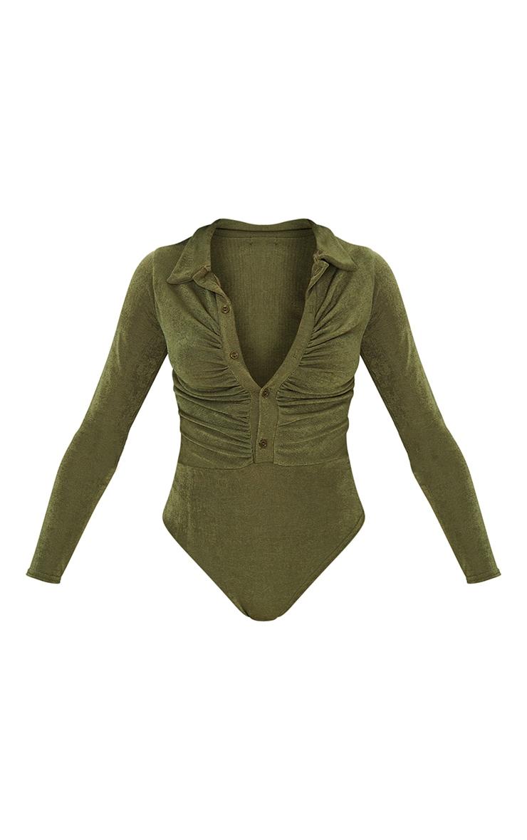 Khaki Rib Ruched Button Front Long Sleeve Bodysuit 5