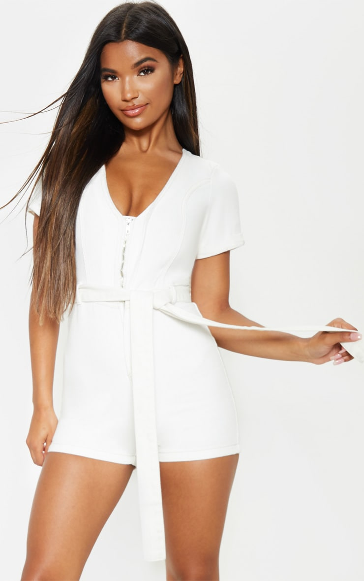 White Belted Denim Romper 4