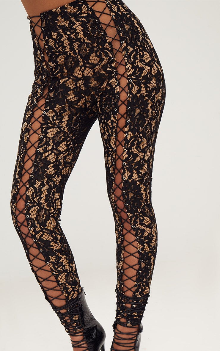 Black Lace Eyelet Detail Skinny Pants 6